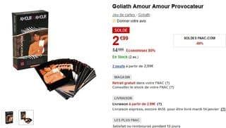jeu adulte Amour Amour Provocateur de Goliath