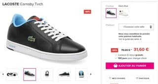les baskets LACOSTE Carnaby Tech a 31 euros