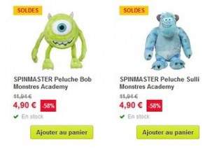 peluches Monstres Academy en soldes