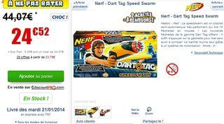 Moitié prix: Pistolet NERF Dart Tag SpeedSwarm à 12,90 euros (port inclus) au lieu de 24 euros