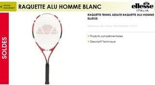 raquette de tennis Ellesse Alu a moins de 10 euros