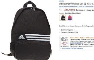 12 euro le sac à dos Adidas port inclus