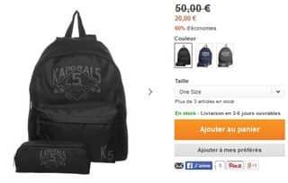 sac à dos Kaporal à 20 euros