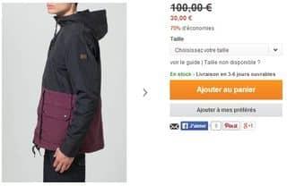 veste Billabong homme à 30 euros