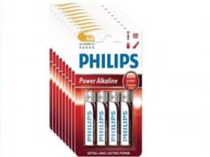 10 euros les 40 piles alcalines Philips AA