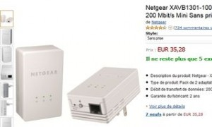 moins de 23 euros les 2 mini adaptateurs cpl netgear port inclus. Black Bedroom Furniture Sets. Home Design Ideas