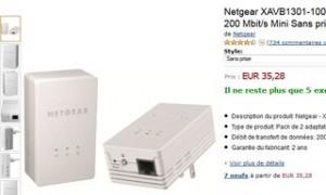 2 adaptateurs CPL Netgear XAVB1301 moins chers