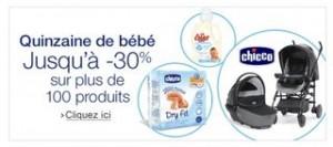 30 pourcent de remise sur 100 produits Bebe et Puericulture