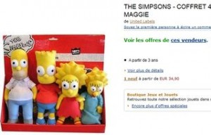 4 peluches Simpson pas cheres