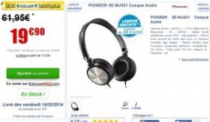 Casque Pioneer SE-MJ531 moins de 20 euros