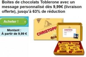 Coffret Toblerone personnalisé à moins de 10 euros