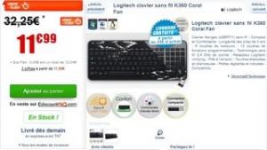 Moins de 12 euros le Clavier sans-fil Logitech K360