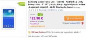 Moins de 130 euros tablette Galaxy Tab 3 Lite
