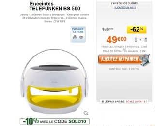 Moins de 45 euros l'enceinte Solaire Bluetooth Telefunken