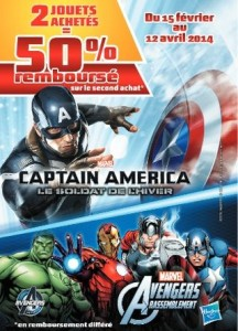 Offre remboursement Avengers Captain America Iron Man 3 Spiderman