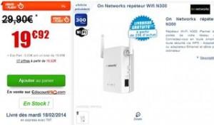 Répéteur Wifi On Networks à moins de 20 euros
