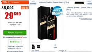 Whisky Johnnie Walker Double Black a moins de 30 euros