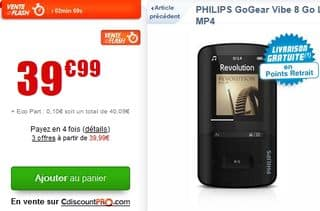 lecteur Mp4 Philips GoGear 8Go promo