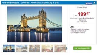 199 euros sejour Londres 3 jours Eurostar Hotel Ibis