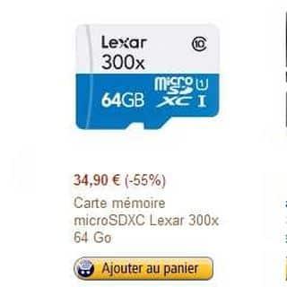 Carte MicroSDXC 64 Go Lexar cl.10 à moins de 35 euros