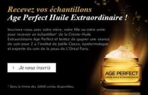 Echantillons Crème-Huile Extraordinaire Age Perfect L'Oréal