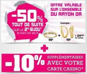 Géant Casino : -50% sur votre 2eme bijoux en or