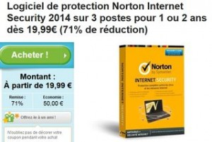 Moins de 20 euros Norton internet Security 2014