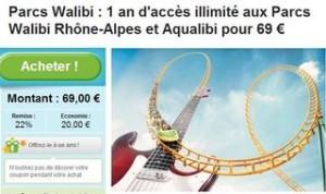 Pass 1 an Walibi Rhone-Alpes et parc aquatique Aqualibi a 69 euros