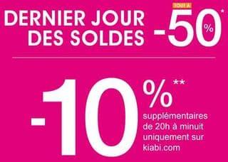 Soldes kiabi tout 50 10 suppl mentaires partir de 20h - Dernier jour de solde ...