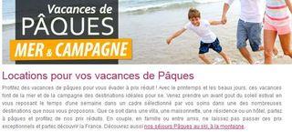 Vacances de Paques moins cheres code promo