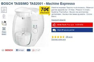 vente flash cafeti re dosette bosch tassimo 29 99 euros. Black Bedroom Furniture Sets. Home Design Ideas
