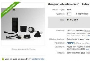 vente flash chargeur solaire 5en1 moins de 10 euros. Black Bedroom Furniture Sets. Home Design Ideas