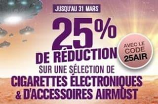 Remise immédiate de 25% sur les cigarettes électronique