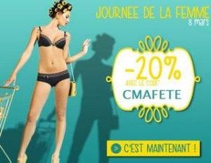 Journée de la femme oblige, l'enseigne de Lingerie Pomm'Poire propose aujourd'hui un code promo qui vous permet d'obtenir 20% de remise sur la lingerie ! L