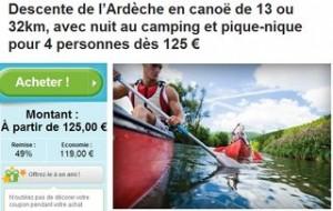 descentes canoë de l'Ardèche pas chères
