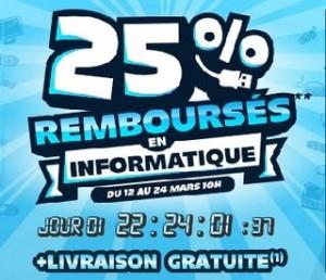 25% remboursés en Informatique