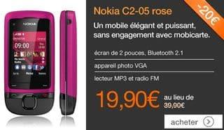 19 90 euros le t l phone sans engagement nokia c2 05 rose livraison gratuite - Vente flash telephone ...