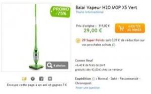 29 euros le balai vapeur H2O MOP X5