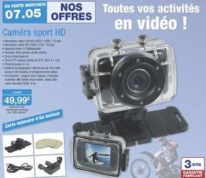 moins de 50 euros la Caméra Sport, full HD, 5 Mégapixels, étanche 3m + carte 4Go