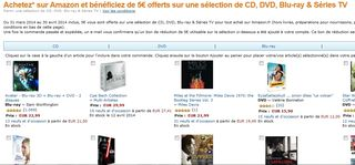 5 euros offerts sur une selection de CD DVD Blu-ray Series TV AMAZON