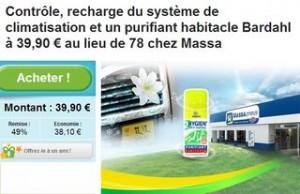 Bon plan climatisation auto : contrôle, recharge + purifiant Bardahl à 39,90 € Centre auto Massa