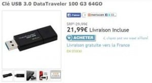 Clé 64GO USB 3.0 Kingston DataTraveler