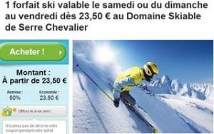 Forfait de ski Serre Chevalier à 23,50 euros au lieu du double