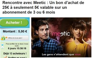 Groupon / Meetic 25 euros pour 5 euros