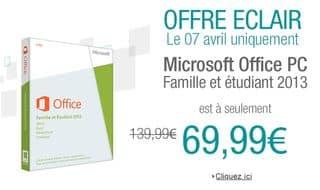 Microsoft Office Famille Etudiant 2013 69 euros