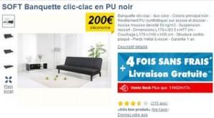Moins de 100 euros la banquette clic-clac noire port inclus
