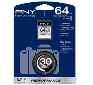 Moins de 40 euros la Carte SDXC 64Go PNY Performance