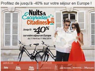 Nuits et Escapades Citadines Accor 2014