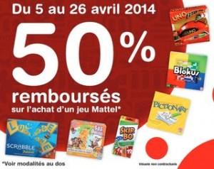 Offre de remboursement Mattel avril 2014