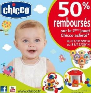 1 Jouet Chicco acheté = le second 50% remboursé